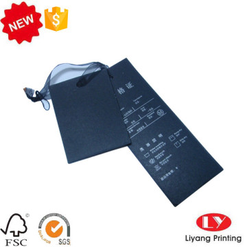 Black hang tag for jeans with logo