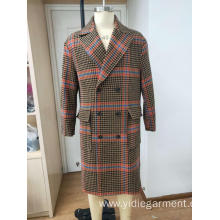 Men's Double Breasted Orange Houndstooth Coat