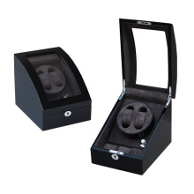 Single Ebony Watch Winder With Grey Velvet