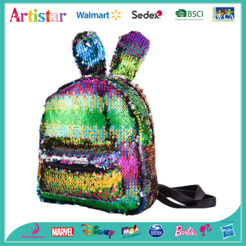 Rabbit rainbow color sequin backpack