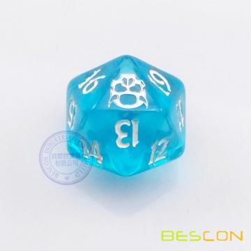20 sides Customized logo engraved translucent polyhedral dice