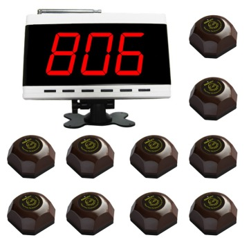 SINGCALL Wireless Calling System, Table Call System, for Hospital. Restaurant Pack of 1Pc White Display and 10Pcs Table Bells