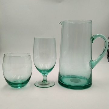 recycled green color glass pitcher wine glass cup