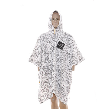 Waterproof rain poncho with customized logo printing all over