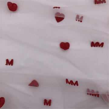 Heart and Letter Embroidery Swiss Diamond Mesh Tulle