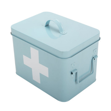 Light Blue Metal 2-Layer First Aid Box