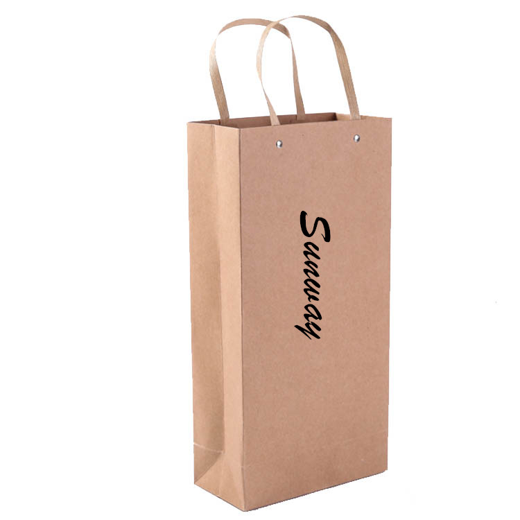 Brown paper wine bags with handles