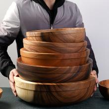 Super large Siwood Bowl Tray Set Wooden Tray Round Extra Large Salad Bowl Solid Wood Tray Custom mixing bowls ramen