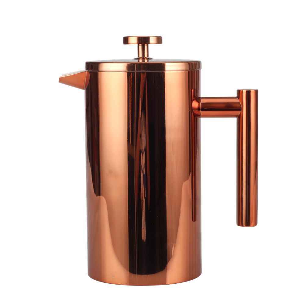 Pretty Copper Double Wall French Press Coffee Maker