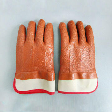 Brown PVC impregnated needled cotton safety cuff gloves