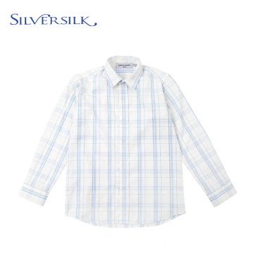 Long Sleeve Anti-shrink Broadcloth Plaid Boys Shirts