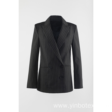 Ladies Black stripes lapel collar suit