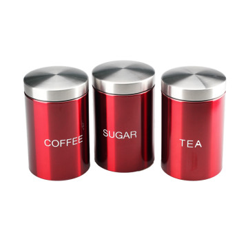 Set of 3 Stainless Steel Storage Jars Canisters