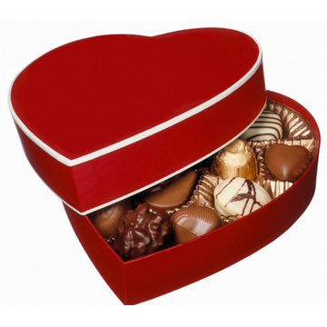 Red Chocolate heart shape cardboard box with divider