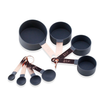 8PCS Measuring Cups Set With Rose Gold Handles