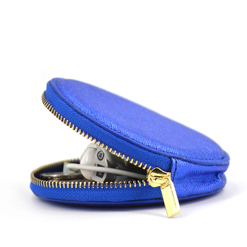 Personalize Gift Portable Glitter Blue Leather Coin Purse