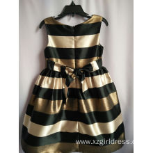 Fashionable Navy Style Girl Stripe Dress  Princess black And golden Stripe Dress