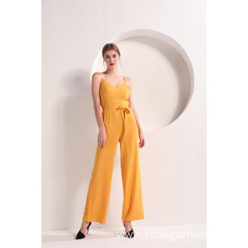 Women Yellow Color Wide Leg Cami Jumpsuit