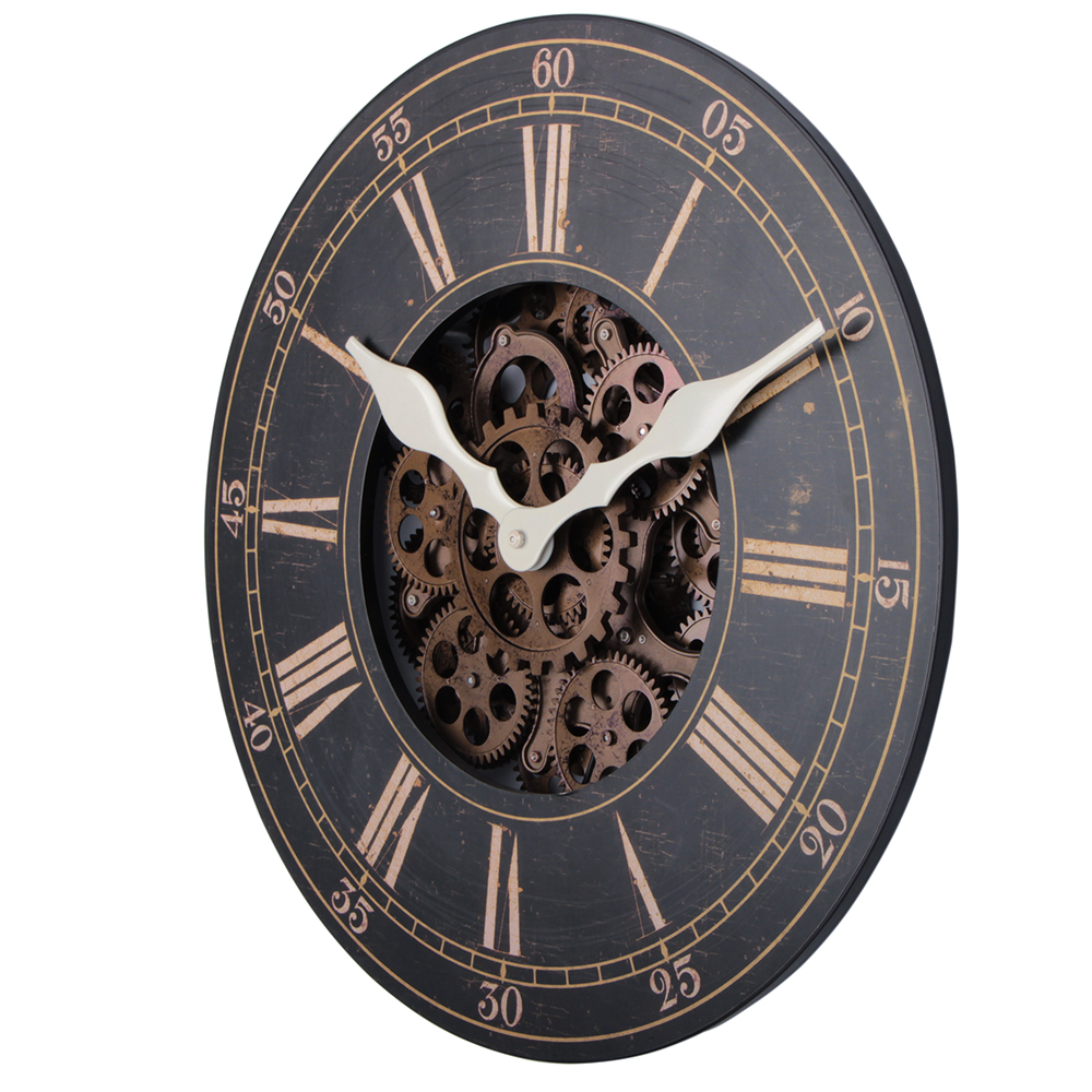 large wood clock face
