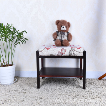 Multifunctional wood printing sofa stool wooden shoe bench