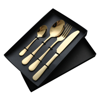 Restaurant flatware set stainless steel gold cutlery