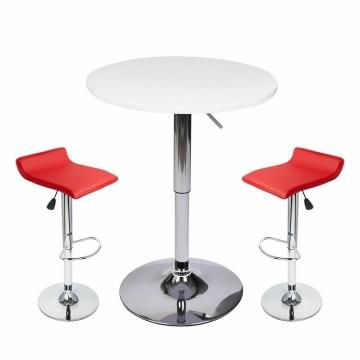 3-Piece Bar Table Bar Stools PU Leather Adjustable Height Swivel Home