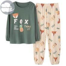Spring Autumn Knitted Cotton Women's Sleep Lounge Pajama Long Sleeved Woman Pajama Set Cartoon Pyjamas Sleepwear M-XXXL Fashion