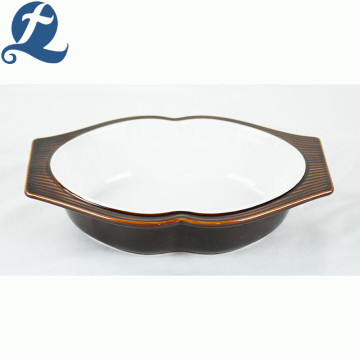 High quality custom printed design ceramic brown oval baking pan  with binaural