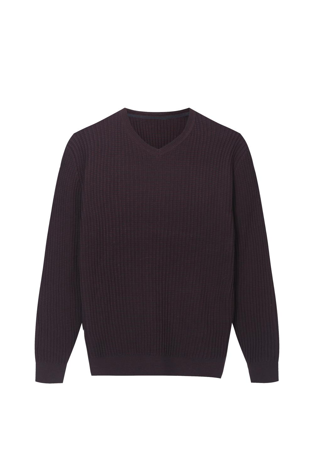 Men's Knitted Slim Fit Striped V-neck Pullover