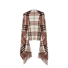 Women's Tassel Plaid Poncho Jacquard Shawl Cape Sweater