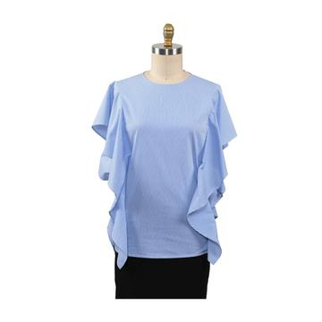 Women Fashion O Neck Strips Ruffles Sleeve Shirt