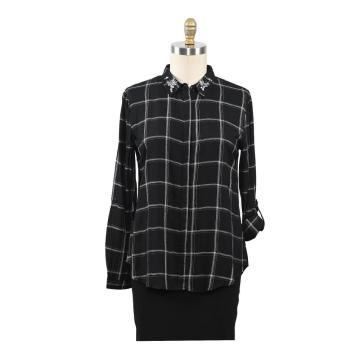 Ladies Tops Spring New Arrival Plaid Shirt