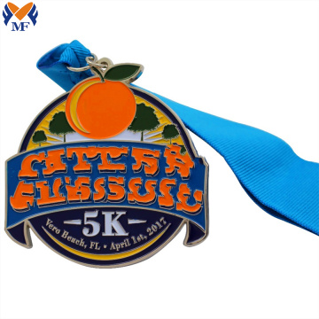 Custom silver metal fruit medals