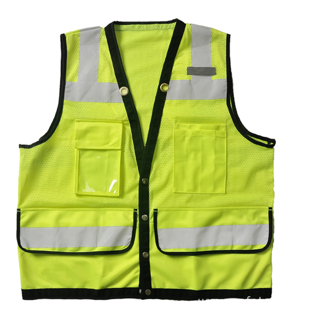 Safety vest mesh and tricot stitching