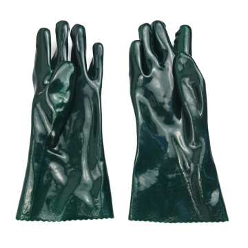 Green PVC coated gloves smooth finish 35cm