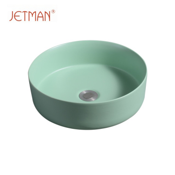 Art round lavatory washing hand green color sink art basin ceramic