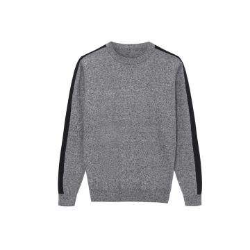 Men's Knitted Jacquard Contrast Sleeve Crew-neck Pullover