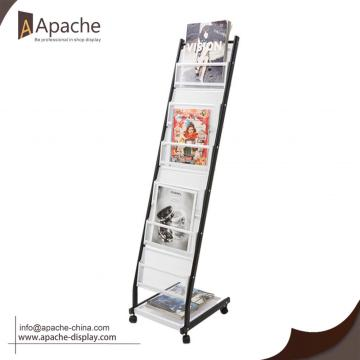 Metal Magazine Newspaper Rack with Grid Shelf