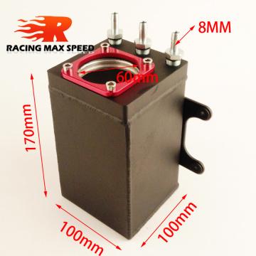 60mm racing external 044 fuel pump tank racing black Billet aluminium AN6 fitting oil catch can fuel surge tank oct-1115-bk