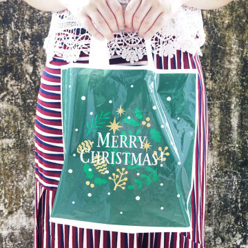 Christmas Green Shopping Plastic Favor Bag
