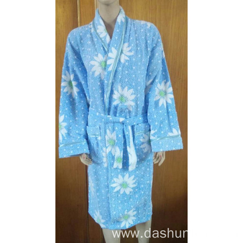 100% cotton printing bathrobe for women