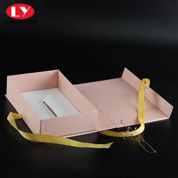 magnetic pink book shaped gift box with ribbon
