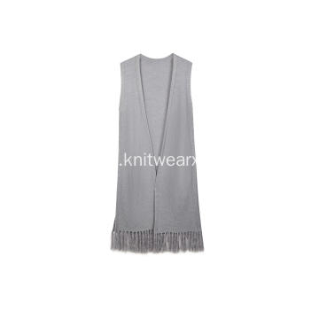Women's Knitted Sleeveless Tassel Hem Side Slit Cardigan