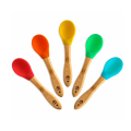 BPA Free Silicone Bamboo Baby Weaning Feeding Spoons