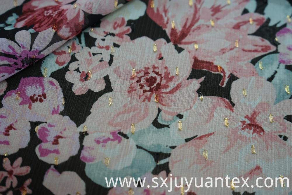 Polyester GGT Lurex Jacquard Print Fabric