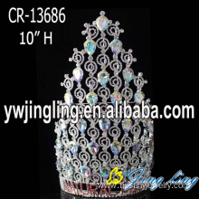 "10"" Big Rhinestone Pageant Crown For Sale"