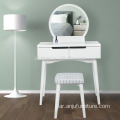 White Color Flower Carved Leg Makeup Vanity set Wholesale Dressing Table For Bedroom