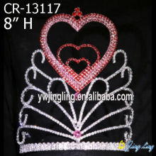 Red Heart Holiday Rhinestone Pageant Crowns For Sale