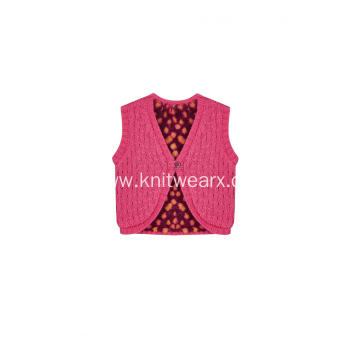 Girl's Knitted Fleece Lined Buttoned Vest