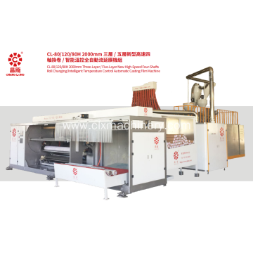 New High Speed Four-shafts Roll Changing Casting Film Machine